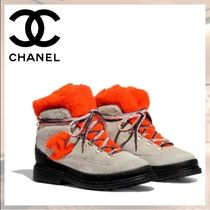 CHANEL Lace-up Casual Style Suede Bi-color Plain Shearling Logo