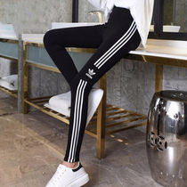 adidas Casual Style Unisex Street Style Plain Cotton Long Khaki