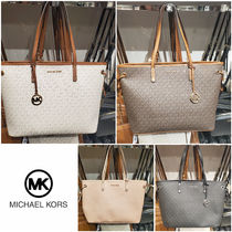 Michael Kors Monogram Casual Style A4 Leather PVC Clothing Logo Totes