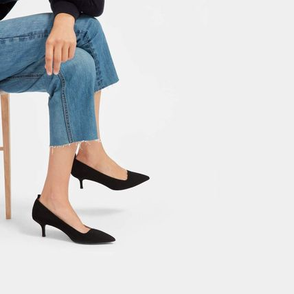 Suede Plain Pin Heels Office Style Formal Style