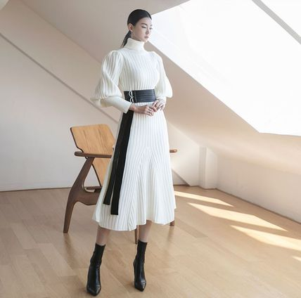 Casual Style Flared Long Sleeves Plain Long Party Style