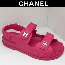 CHANEL Casual Style Bi-color Plain Logo Sandals Sandal