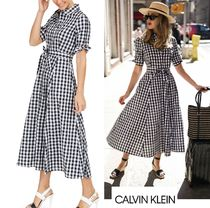 Calvin Klein Gingham Casual Style Flared Cropped Cotton Medium
