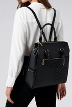 FOREVER NEW Faux Fur Studded A4 2WAY Plain Office Style Backpacks