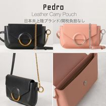 Pedro Casual Style Calfskin 2WAY Chain Plain Shoulder Bags