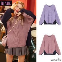 ELF SACK Crew Neck Cable Knit Casual Style Street Style Long Sleeves