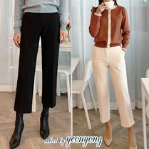 Casual Style Plain Long Office Style Cropped & Capris Pants