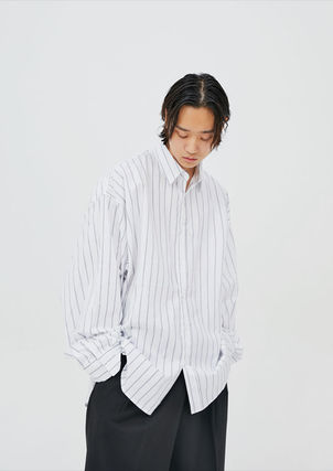 OPEN THE DOOR Shirts Pullovers Stripes Unisex Street Style Long Sleeves Cotton 3