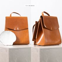 The Horse Casual Style Plain Leather Backpacks