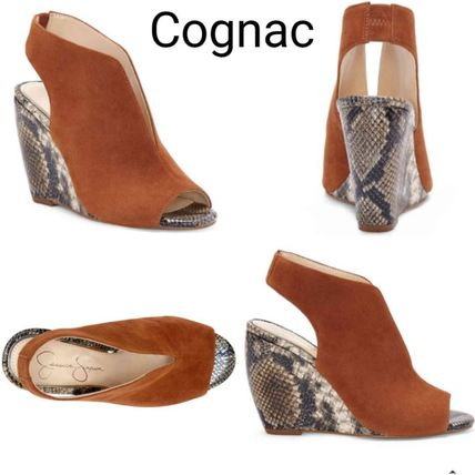 Open Toe Casual Style Suede Blended Fabrics Street Style