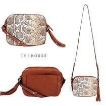 The Horse Casual Style Tassel Plain Leather Python Shoulder Bags