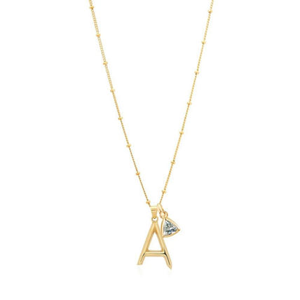 Costume Jewelry Casual Style Initial 18K Gold Elegant Style