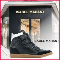 Isabel Marant Round Toe Rubber Sole Leather Platform & Wedge Sneakers