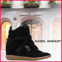Isabel Marant Rubber Sole Casual Style Leather Platform & Wedge Sneakers