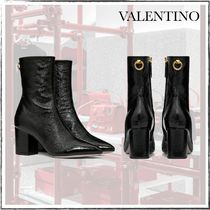 VALENTINO Plain Block Heels Chunky Heels Ankle & Booties Boots