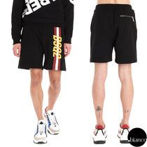 D SQUARED2 Stripes Sweat Street Style Cotton Joggers Shorts