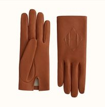 HERMES Cashmere Plain Leather Leather & Faux Leather Gloves