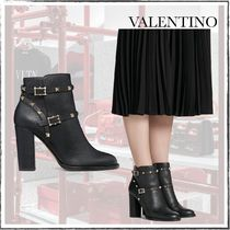 VALENTINO Studded Plain Block Heels Chunky Heels Ankle & Booties Boots