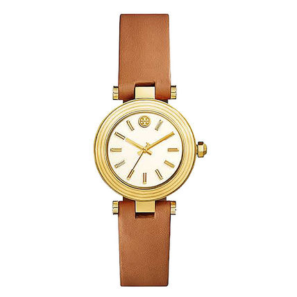 Tory Burch Round Formal Style  Casual Style Leather Street Style