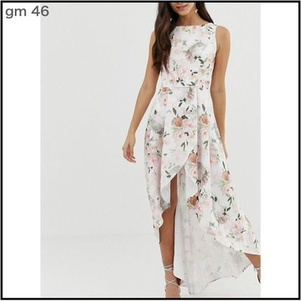 Wrap Dresses Flower Patterns Sleeveless Long Party Style