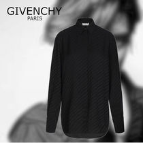 GIVENCHY Casual Style Unisex Silk Long Sleeves Plain Long