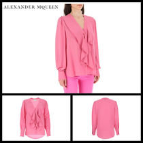 alexander mcqueen Silk Long Sleeves Plain Medium Elegant Style