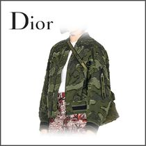 Christian Dior Short Camouflage Casual Style Blended Fabrics Street Style