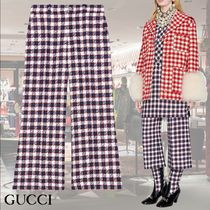 GUCCI Gingham Casual Style Wool Medium Culottes
