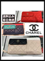 CHANEL TIMELESS CLASSICS Calfskin Blended Fabrics Plain Leather Long Wallets
