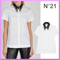 N21 numero ventuno Studded Plain Cotton Medium Short Sleeves Shirts & Blouses