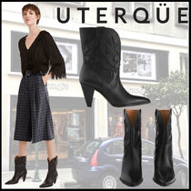 Uterque Casual Style Leather Block Heels Elegant Style