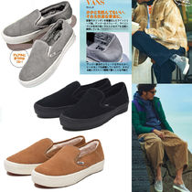 VANS SLIP ON Casual Style Unisex Suede Blended Fabrics Plain Shearling