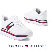 Tommy Hilfiger Stripes Platform Rubber Sole Lace-up Casual Style