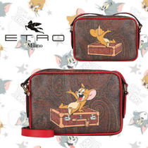 ETRO Paisley Casual Style Calfskin Canvas Collaboration Leather