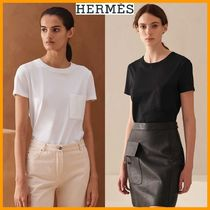 HERMES U-Neck Plain Cotton Short Sleeves T-Shirts
