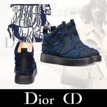 Christian Dior Star Camouflage Platform Plain Toe Rubber Sole Casual Style