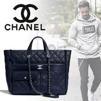 CHANEL Unisex Calfskin Street Style A4 2WAY Chain Plain Totes