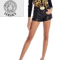 VERSACE Short Casual Style Plain Leather Elegant Style