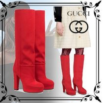 GUCCI Casual Style Plain Elegant Style Over-the-Knee Boots