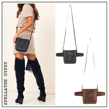 Casual Style Studded Street Style 2WAY Plain Leather
