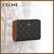 CELINE Triomphe Calfskin Canvas Long Wallet  Logo Coin Cases