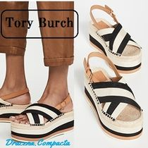 Tory Burch Open Toe Platform Casual Style Blended Fabrics