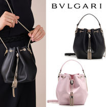 Bvlgari Calfskin Chain Leather Shoulder Bags