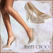 Jimmy Choo Flower Patterns Suede Blended Fabrics Plain Leather