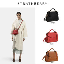STRATHBERRY Calfskin 2WAY Chain Plain Leather Party Style Office Style