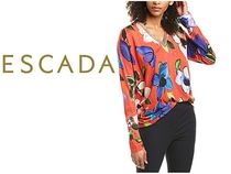 ESCADA Casual Style Long Sleeves Cotton Party Style Office Style