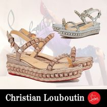 Christian Louboutin Open Toe Platform Casual Style Studded Plain With Jewels