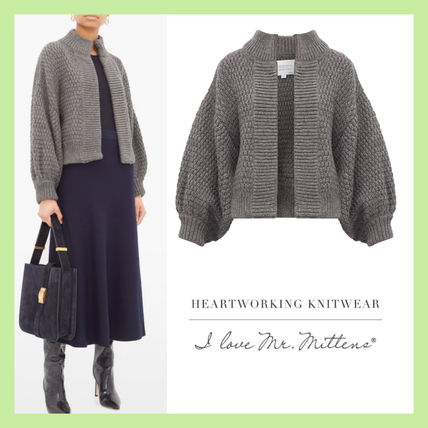 Cable Knit Casual Style Wool Long Sleeves Plain Sweaters