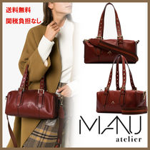 MANU atelier Canvas Suede 2WAY Leather Elegant Style Totes
