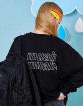 muahmuah Crew Neck Street Style U-Neck Long Sleeves Plain Cotton